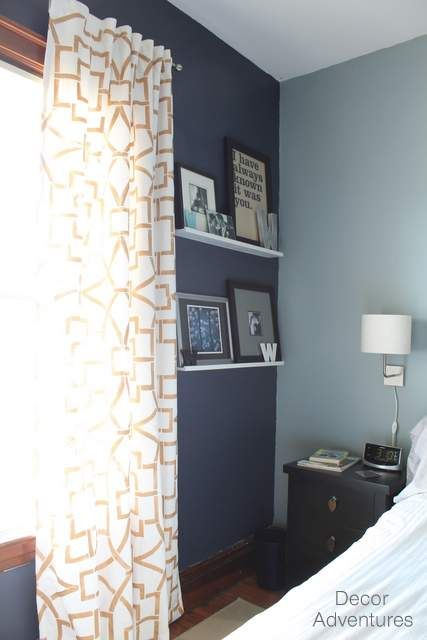 You will love the look of an accent wall in your home. It adds such interest to a room! And you only need a little bit of paint too. I painted this Hale Navy (Benjamin Moore) wall in our master bedroom.