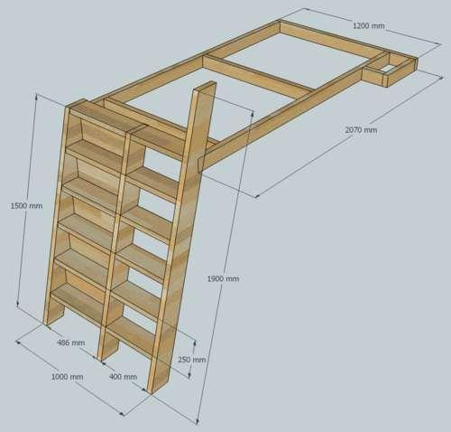 loft bed with bookshelf ladder