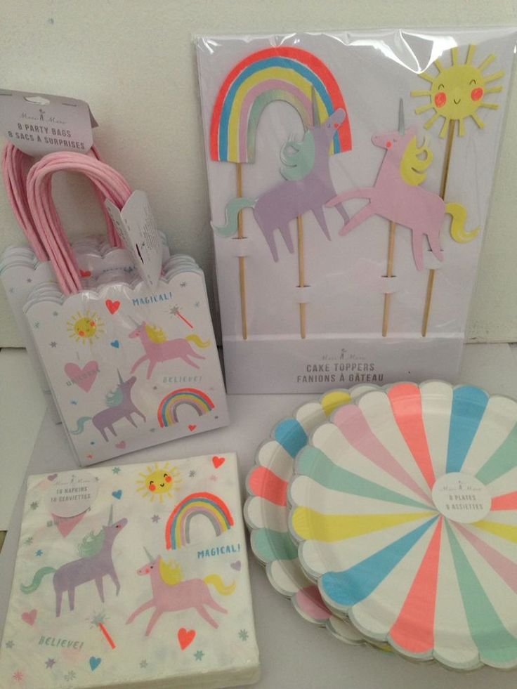 New Meri Meri Unicorn Party Set Cake Topper Paper Plates Napkins Bags #MeriMeri #BirthdayChild