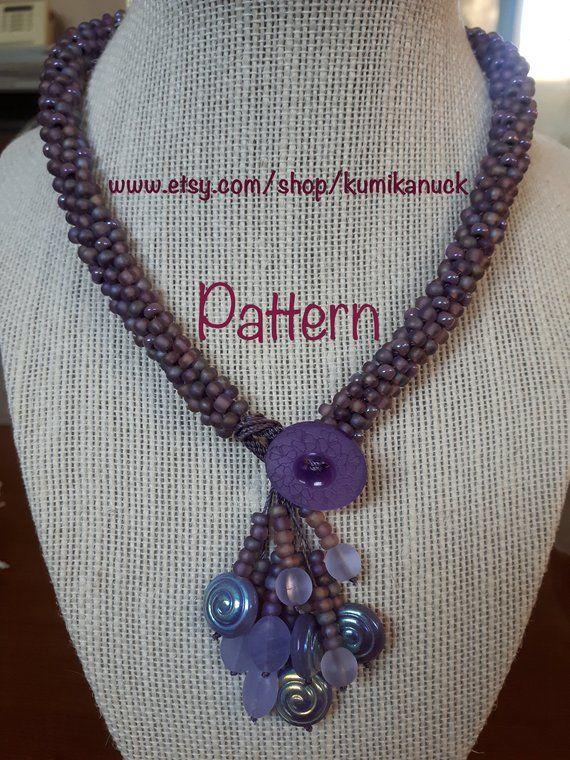 Kumihimo bead woven seed bead choker necklace