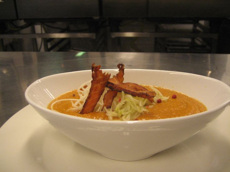 "Sweet potato bisque, topped with pickled apples & ""salmon bacon""...First course @ our ""Hoppy Dinner"" beer dinner."