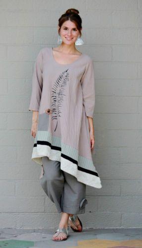 LEE-ANDERSEN-USA-Cotton-Gauze-FERN-TUNIC-Art-to-Wear-Long-Top-S-M-L-XL-TAN