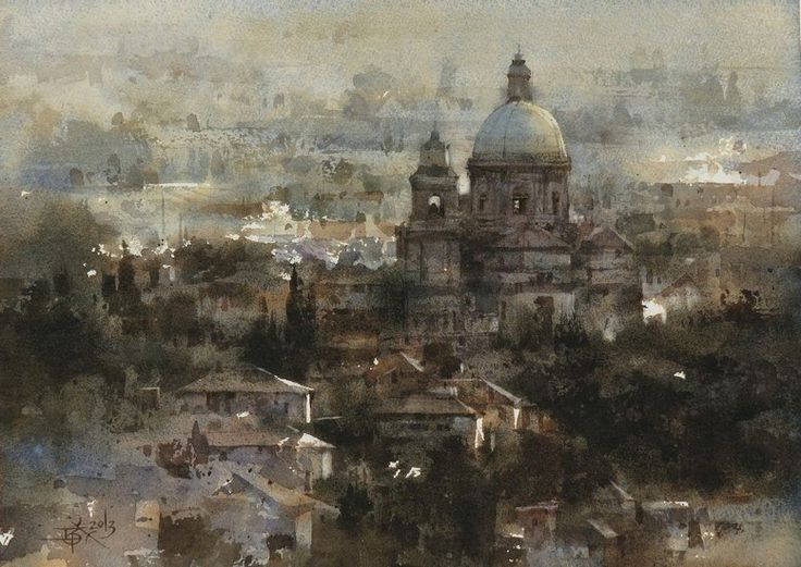 """""""View of Assisi"""" By Chien Chung-Wei (also known as Prince Hibari) (忠威), from Taiwan - watercolor -"""