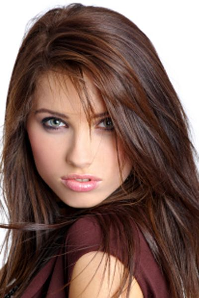 deep coffee brown hair color..wanna try this color! -This girl has a serious model face. Makes me want to hit her with a banana cream pie...but i love her hair color so i might spare her.