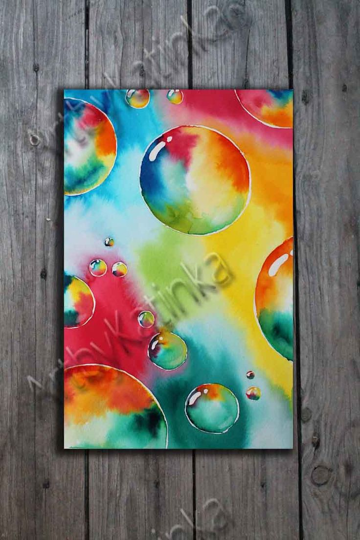 Original Watercolor Painting, Abstract Art, Bubbles, Anniversary, Birhday gift, Wall Art, Home Decor, Painting Art, Paintig Gift by ARTbyKatinka on Etsy