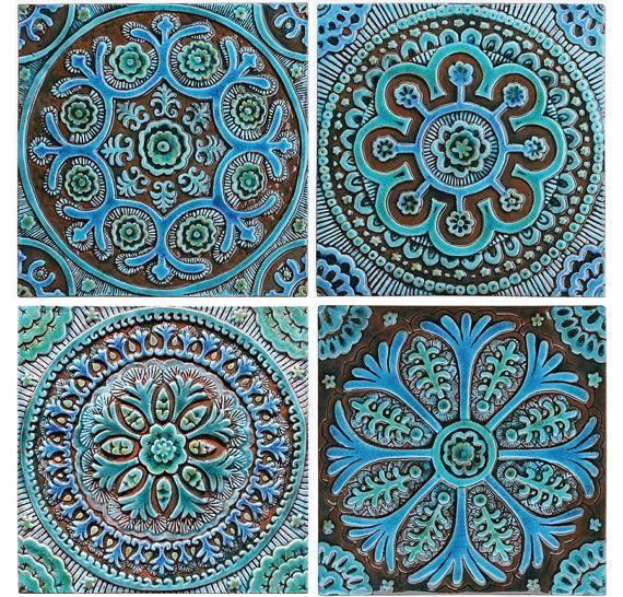 Suzani ceramic tile // Wall tile // Decorative tile // by GVEGA