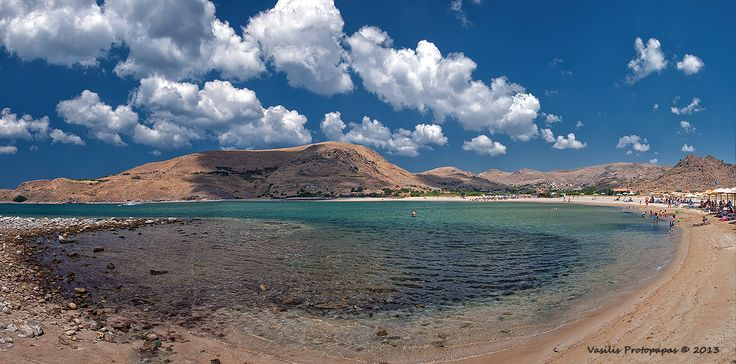 Village of Thanos with its nearby sandy beach is surrounded by low hills. Lemnos Island, Lesvos, North Aegean_ Greece
