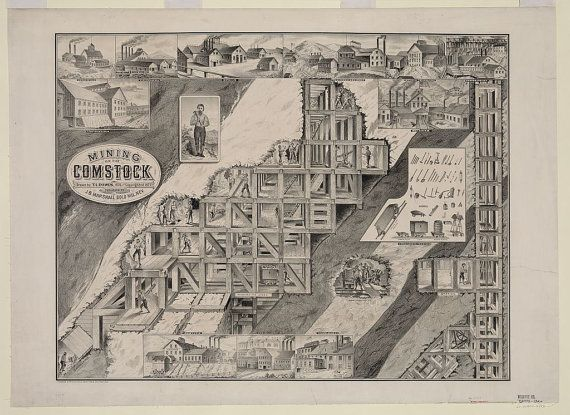 "c.1900s ""Comstock Lode, Mining Town, Nevada Map, Lithograph"" (Antique,Vintage,Old,B&W) Reproduction Photograph-Photo-Print. Frame it!"