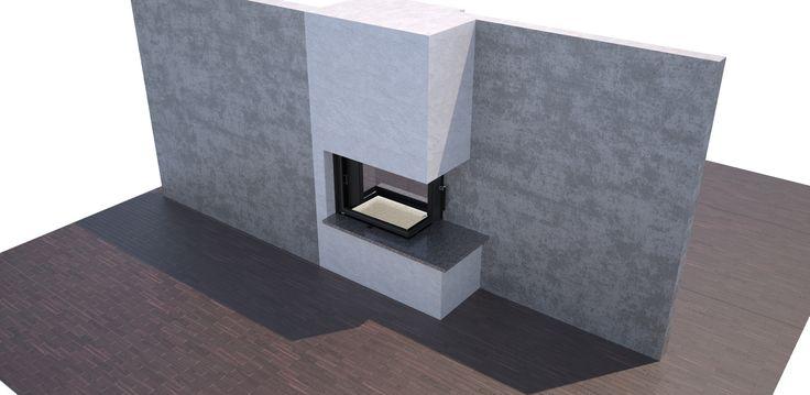 Fireplace, krbová vložka BeF Twin 7 CP-CP. Vizualizace možné obestavby průhledové krbové vložky.