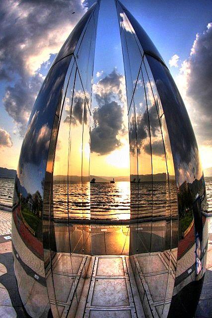 Lake Suwa 諏訪湖 Nagano Japan. @designerwallace  A striking (and sometimes blinding) sundial sculpture along the shore walk.