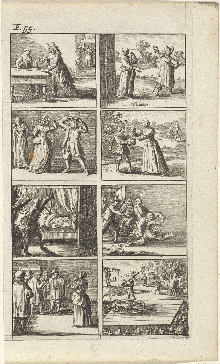 Abraham Dircksz Santvoort | Verhaal met voorstellingen van moord en doodstraf (F. 55.), Abraham Dircksz Santvoort, Gerrit van Goedesberg, 1667 | Verhaal in acht scènes met enkele voorstellingen van moord en doodstraf. Onder andere van een man die op het punt staat om een vrouw in bed met een zwaard te doden, enkele vechtende mensen, een man aan een galg, een geradbraakte vrouw en van twee mensen op een brandstapel. Linksboven: F. 55.