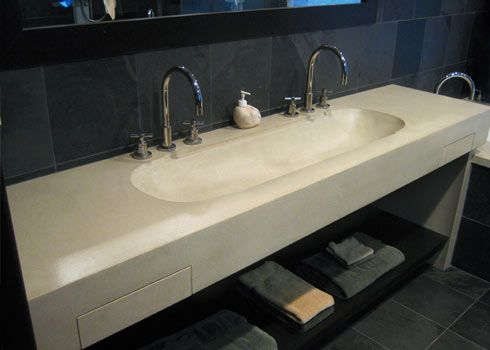 Double 48 Quot Concrete Wall Mounted Sink With 2 Integral