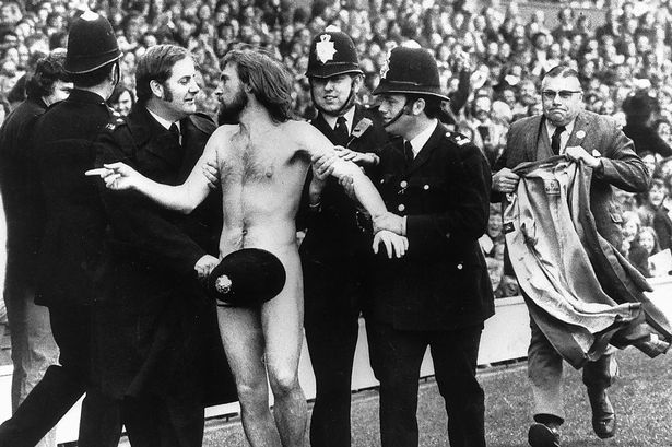 The first streaker at a major sporting  event .. taken by Ian Bradshaw ... 1975 .