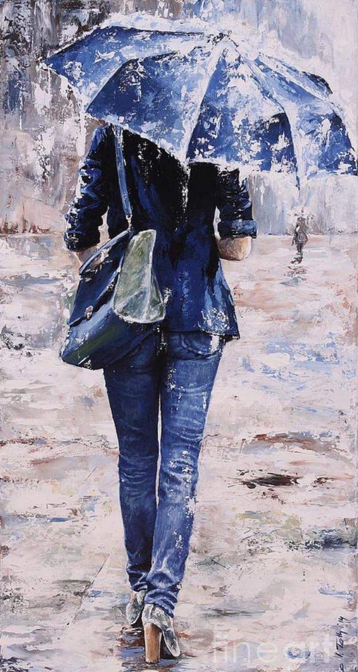 Девушка с зонтом картина