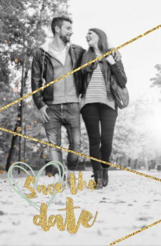 lovz.nl | Elegante save the date kaart met eigen foto en letters in goudlook. Zelf maken.