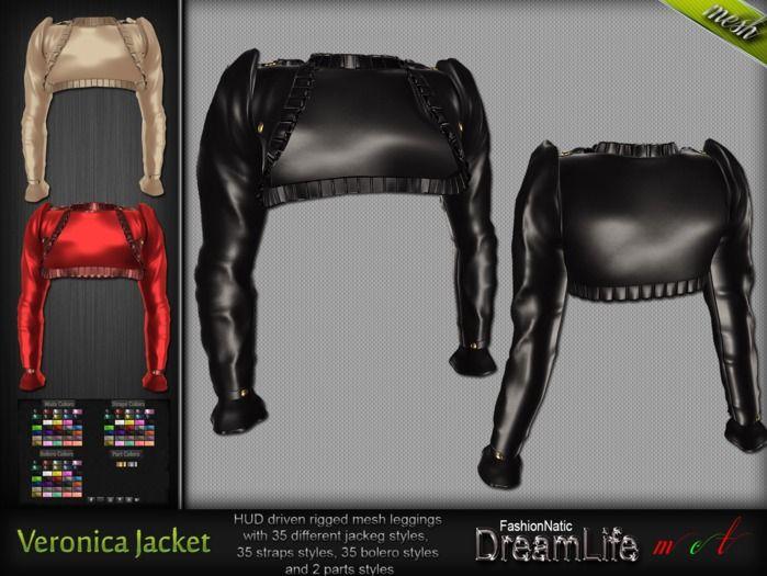 MESH Veronica Female Leather Jacket* Rigged (HUD Driven) *DreamLife - FashionNatic*