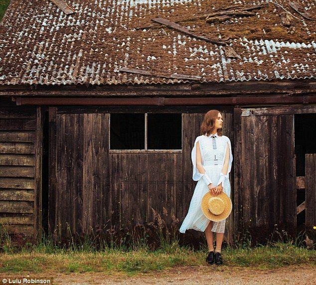 cotton shirt, £330, Palmer//Harding. dress, £250, Self-Portrait. silk necktie, £69, Jessie Western. hat, £225, Laura Cathcart. shoes, £170, Michael Michael Kors