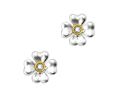 Thomas Sabo Silver and Gold Sweet Diamonds Cloverleaf Earrings SD_H0001-179-14