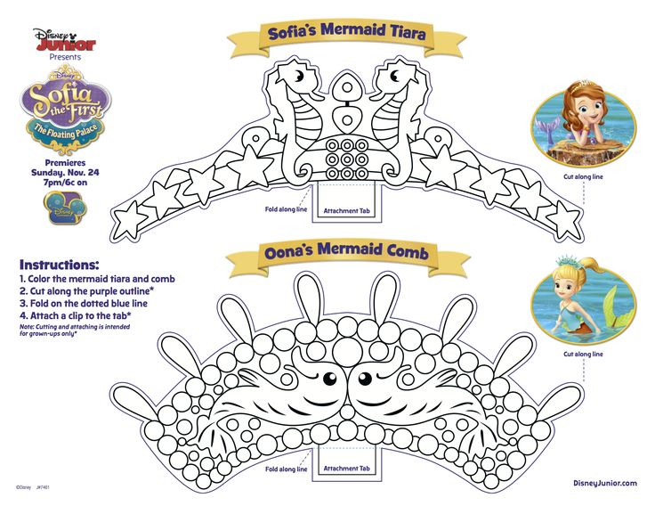 Sofia and oona activities crafts disney junior for Sofia the first crown template