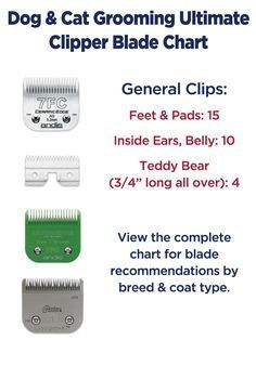Dog grooming clipper blade chart by breed and coat type.