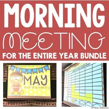 Get your mornings started at the beginning of the year with this Morning Meeting and Calendar for the ENTIRE YEAR BUNDLE for first grade! Morning meeting is crucial in the lower grades for getting your day started off on a positive note, as well as for