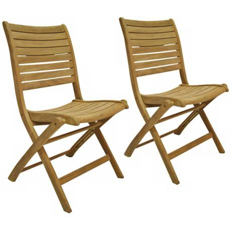 Amazonia Teak Dublin Outdoor Folding Chairs Set of 2