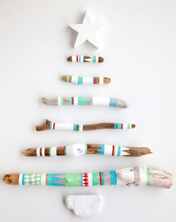 What else could these decorated sticks be used for?: Paintings Sticks, Xmas Trees, Idea, Driftwood Christmas Trees, Holidays, Modern Christmas, Christmas Decor, Drift Wood, Diy Christmas