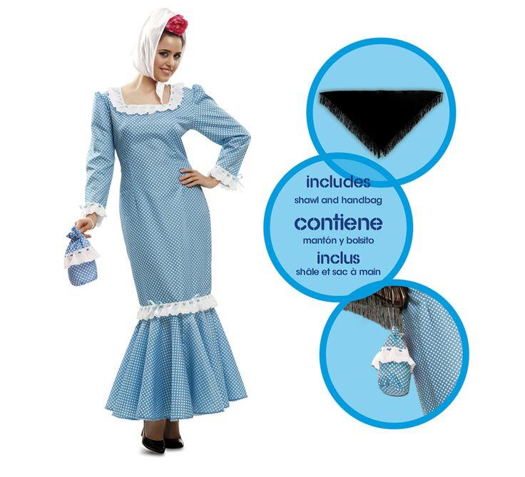 Disfraz de #chulapa o #madrileña azul para mujer. #SanIsidro #Madrid #FeriadeSanIsidro #Disfraz