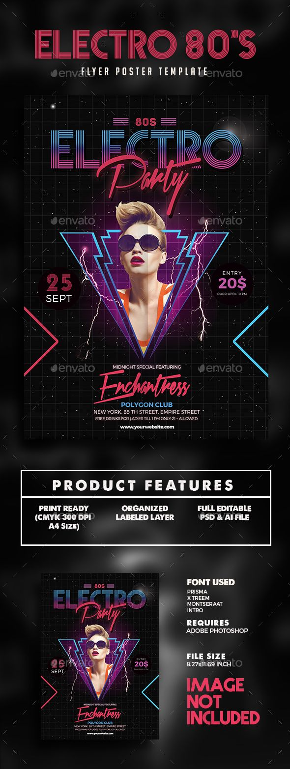 80s Electro Music Party Flyer Template PSD. Download here: http://graphicriver.net/item/80s-electro-music-party-flyer/15992175?ref=ksioks