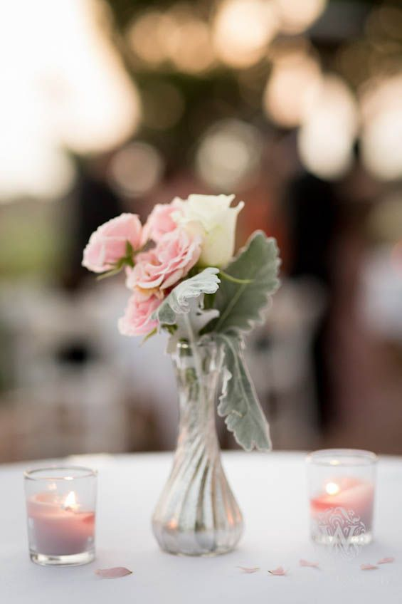 The perfect rose and dusty miller cocktail hour centerpiece for a winter wedding (Brandon Wong Photography)