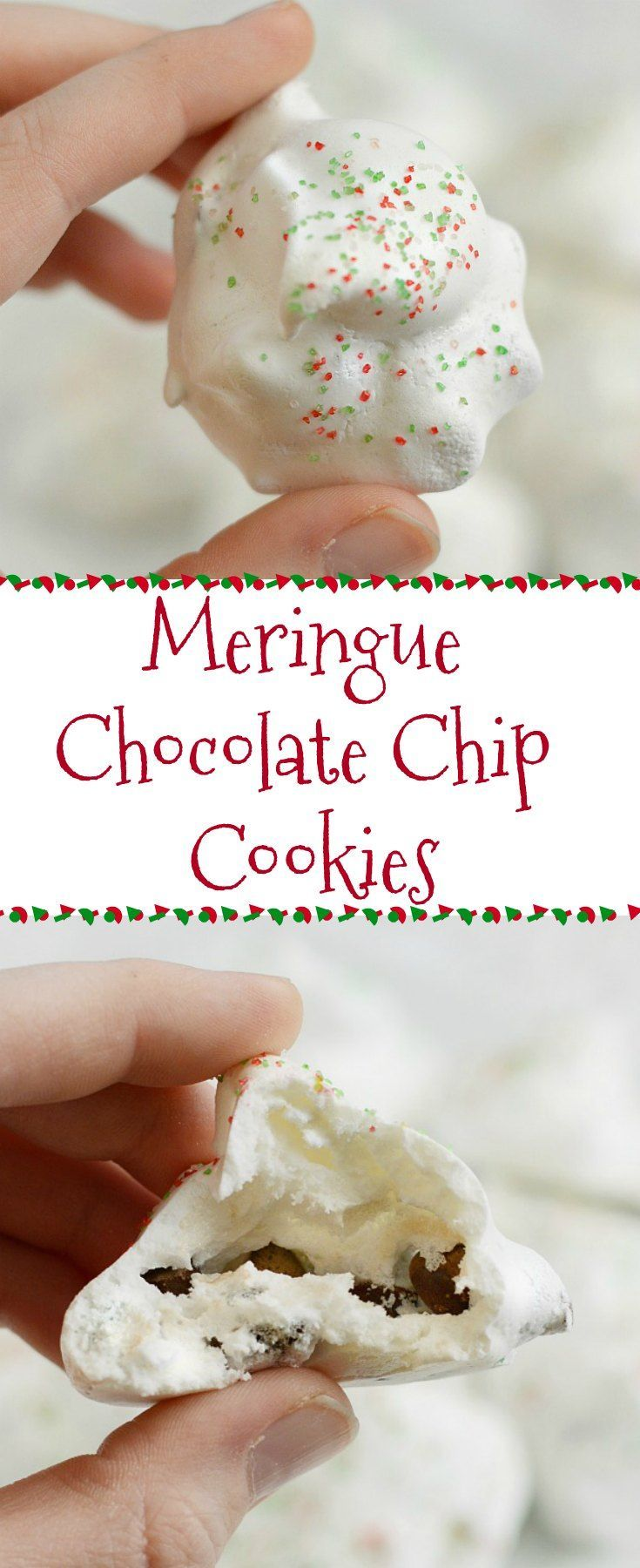 Meringue Chocolate Chip Cookies - Made with egg whites, sugar and a couple of other ingredients, these light and airy cookies melt in your mouth and have a surprise chocolate chip center. They're also gluten free and low in calories. Perfect for Christmas, holidays or any special occasion!