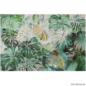 J-Line Canvas Varens Canvas-Hout Groen Mix 150X100 Jline-by-Jolipa-70131