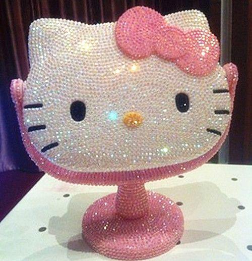 Kawaii~Bling Deluxe 3D Hello Kitty Crystal Diamond Make Up Mirror Best Girl Gift