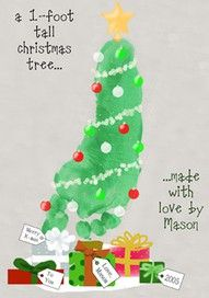 footprint christmas tree. I'm going to do this on white lunch bags and use as wrapping paper for my parent gifts!