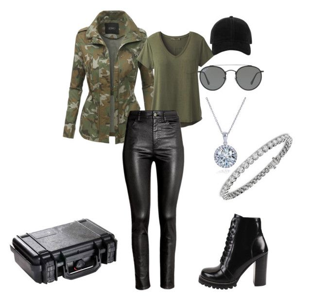 """""""Military Girl"""" by thaibijus ❤ liked on Polyvore featuring LE3NO, prAna, H&M, Jeffrey Campbell, Pelican, rag & bone, Ray-Ban, Kobelli and Blue Nile"""