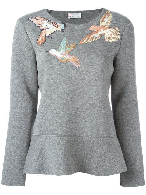 RED VALENTINO Embroidered Bird Sweatshirt. #redvalentino #cloth #sweatshirt