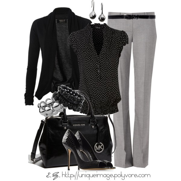 Black and greyPolka Dots, Fashion, Style, Closets, Clothing, Michael Kors Outlets, Black Lights, Work Outfit, Lights Gray