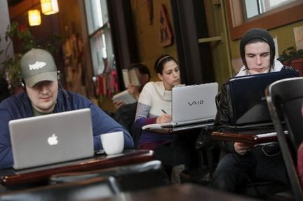 Cafes have become a sort of semi-private office