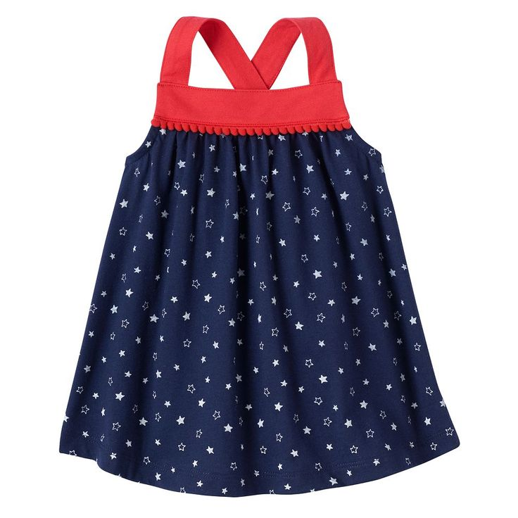 Baby Girl Jumping Beans® Patriotic Pom Tank Top, Size: 18 Months, Blue