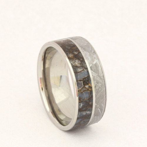 Dinosaur Bone Ring with Meteorite Inlay and a Titanium Pinstripe. I would love for Anthony to have this as his wedding ring. . . but there is a steep price tag.