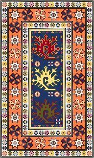 DOLLHOUSE MINIATURE AREA RUG NEEDLEPOINT PATTERN IN 1/12TH SCALE    The dragon motifs, that you can see in the field of the rug, were originated in
