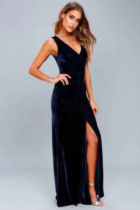 4f44f9f459e6c Lulus Exclusive! The Crushin  It Navy Blue Velvet Maxi Dress is here to  help you slay all through the night! Soft and stretchy velvet creates a  bodycon fit ...
