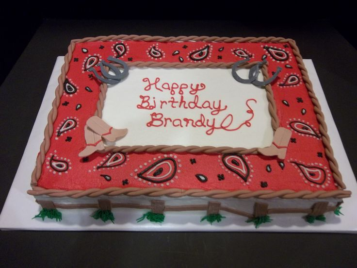 Birthday Cakes - Western themed birthday sheet cake.  Covered in buttercream with fondant accents.