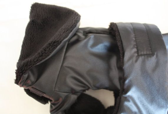 Reversible Black Faux Fur Raincoat for small and medium dogs - by AmiciDiAlia