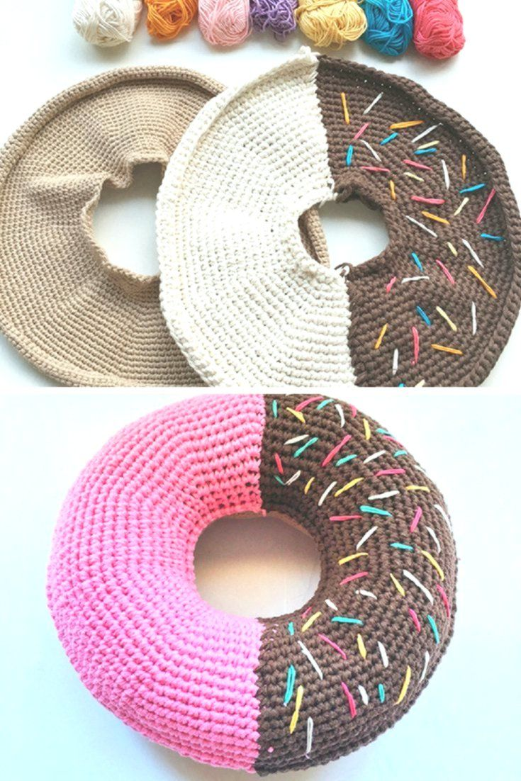 Donut Pillow Crochet Pattern Cushions Tutorial Donut Kissen