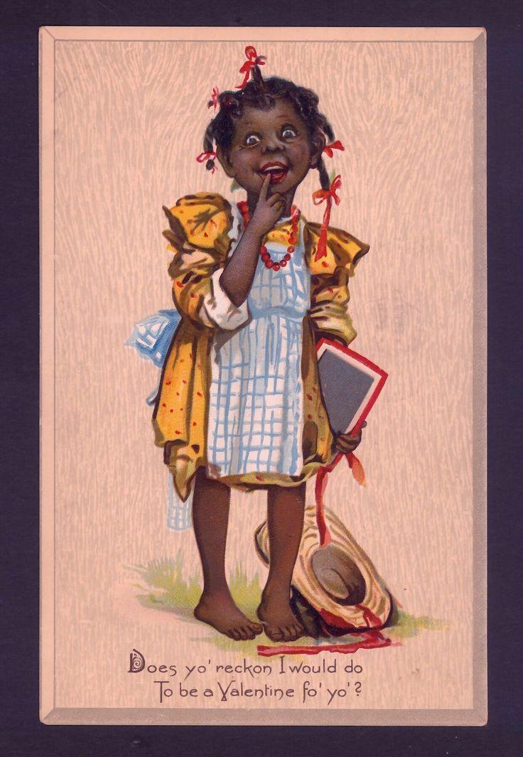 Scarce Brundage Black Negro School Girl Slate Valentine's Day Tuck Postcard | eBay