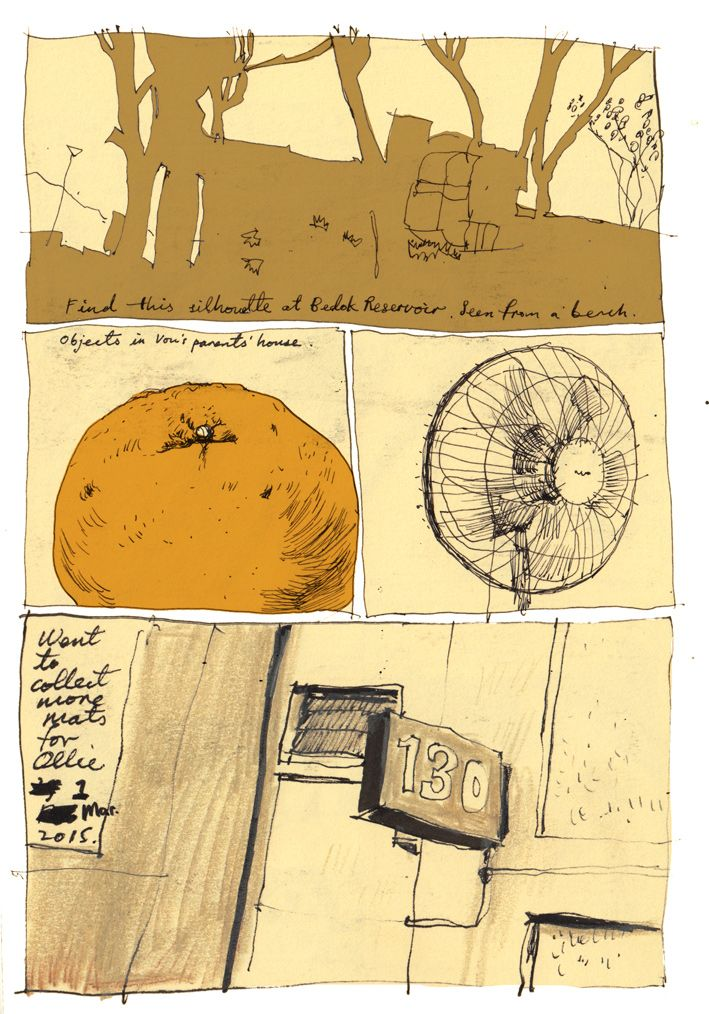 Andrew Tan: nice division of page with variety of things drawn, including silhouette