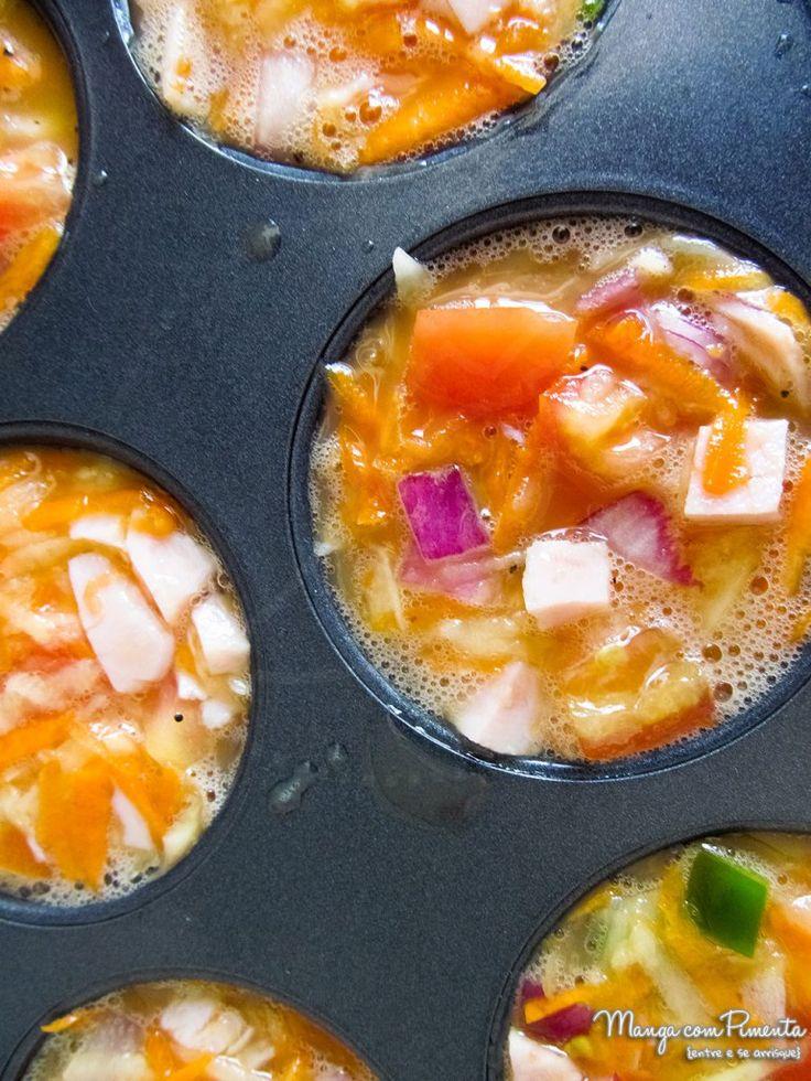 Muffins de Omelete, para ver a receita clique na imagem para ir ao Manga com Pimenta.