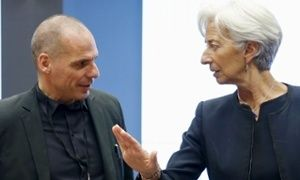 Greece's Yanis Varoufakis with Christine Lagarde of the IMF during a meeting of eurozone ministers.