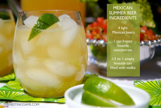 mexican summer beer ingredients list - summer drink - easy party drink - cocktail recipe - cinco de mayo party